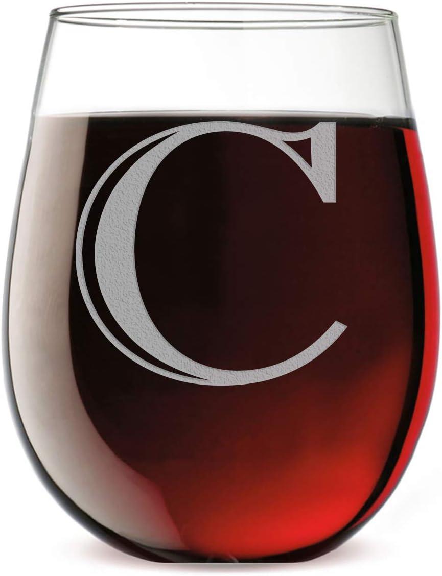 Monogram Etched 17oz [Alternative dealer] Stemless C Glass Tucson Mall Wine Letter