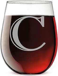 Monogram Etched 17oz Stemless Wine Glass (Letter C)