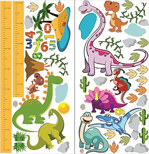 Tableau de Hauteur Dinosaure Vert Stickers pour Enfants Hauteur Croissance de Mesure Tableau Sticker Mural Amovibles en Vinyle DIY R/ègle de 50-170cm pour Chambre B/éb/é Chambre Enfants Salle de Jeux