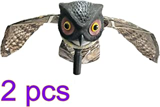 Yardwe Owl Decor Bird Runner Insect Deterrent Movable Wings Scarecrow Garden Orchard Insect Owl with Wings (Red Eye Sockets) 2PCS