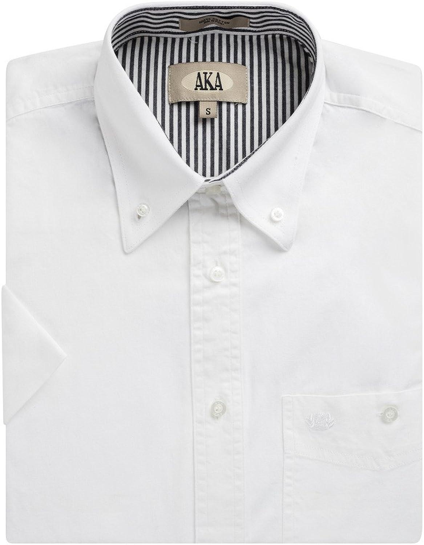 AKA Men's 100% Cotton Button Down Short Sleeve Dress Shirt