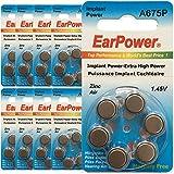 60 Piles Auditives EarPower Taille 675P / A675P (lot de 10 plaquettes) - Pour Appareils Auditifs/Implant Cochléaire - Sans Mercure - Voltage 1.45V / PR44P / Premium ZINC AIR / A675 / P675