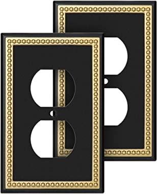 Pearled Frame Decorative Wall Plate Switch Plate Outlet Cover (Single Duplex, 2 Pack, Matte Black & Dark Golden)