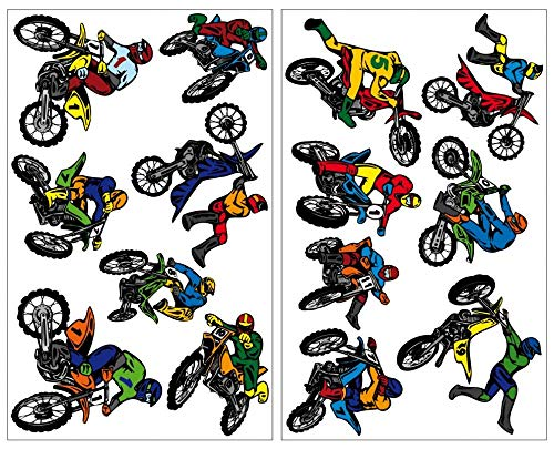 Samunshi® 14-teiliges Motocross Wandtattoo Set Cross Motorrad Moped in 5 Größen (2x16x26cm Mehrfarbig)