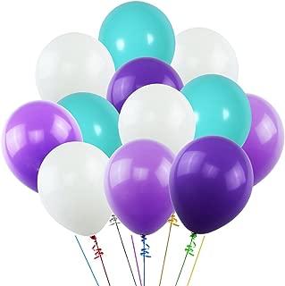 K KUMEED White Purple Dark Purple Sea Foam Blue Assorted Balloons 12
