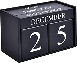 Wooden Desk Blocks Calendar - Perpetual Block Month Date Display Home Office Decoration(Black), 6.1 x 3.9 x 2.9 inches