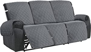 HDCAXKJ Recliner Sofa Cover 6-Pieces Anti Slip Couch Covers for Reclining Couches 3 Seat Water Repellent Sofa Slipcover for 3 Cushion Couch Quilted Pet Dog Furniture Protector (68