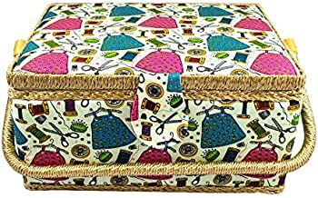 Large Fabric Covered Sewing Basket with Insert Organizer from Tidy Crafts