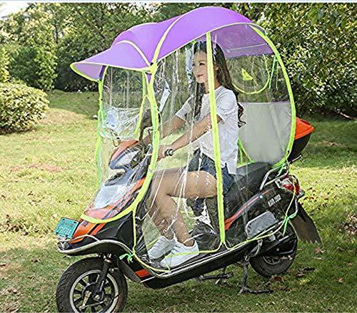 XLBHSH Motor eléctrico Completamente Cerrado Scooter Umbrella Mobility Sun Shade & Rain Cover Impermeable, Universal,Púrpura,No Rearview Mirror