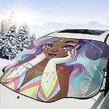 [page_title]-Tridge Schwarzes Mädchen-Afroamerikaner-Mädchen-Liebes-Musik-Auto-Windschutzscheiben-Schneeabdeckung für Auto-Frontscheiben-EIS-Abdeckungs-Schutz wasserdicht