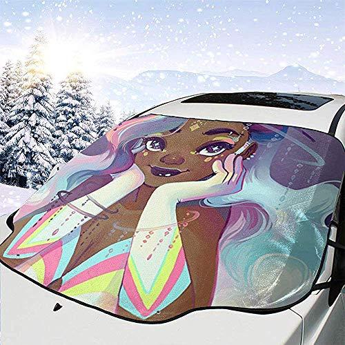 Tridge Schwarzes Mädchen-Afroamerikaner-Mädchen-Liebes-Musik-Auto-Windschutzscheiben-Schneeabdeckung für Auto-Frontscheiben-EIS-Abdeckungs-Schutz wasserdicht