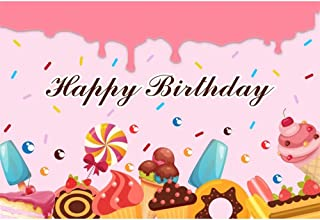 Renaiss 5x3ft Happy Birthday Backdrop Ice Cream Cup Cake Marble Chocolate Girl's Birthday Party Banner Dessert Table Decor Pink Background Photography Studio Props Vinyl Wallpaper