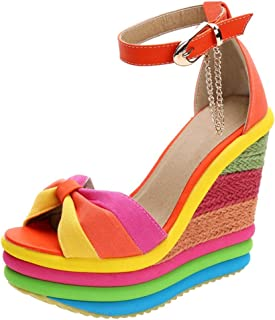 Women Sumemr Fashion Colorful Platform Wedge Sandals Ankle Strap Bohemian Style Heeled Sandals by Lowprofile