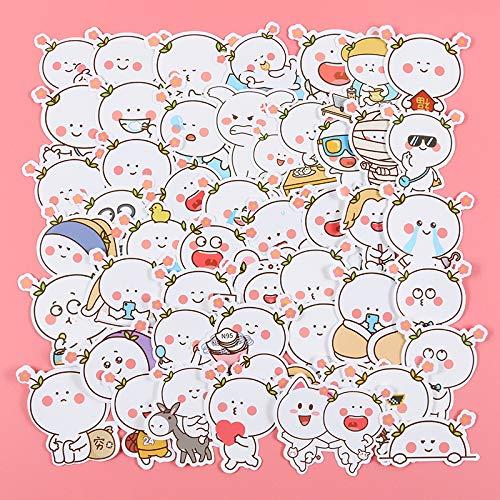 LYDP Paquete de 50 pegatinas de dos flores para equipaje, diseño de emoji, divertidos dibujos animados, impermeables, creativas