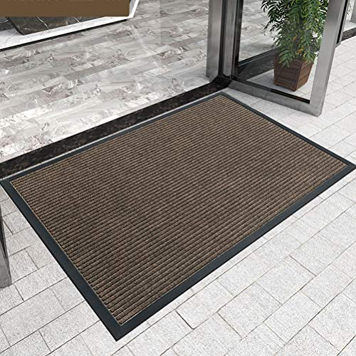 ZHM Alfombra para atrapar la Suciedad Máquina Lavable Puerta Mat, hogar, al Aire Libre dedicado, Antideslizante, Impermeable y fácil de Limpiar (Color : Marrón, tamaño : 60×90CM)