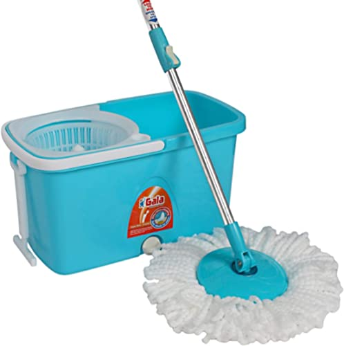Gala Popular Spin Mop – With easy wheels, long handle, microfibre refill and water outlet – in Blue with White product image