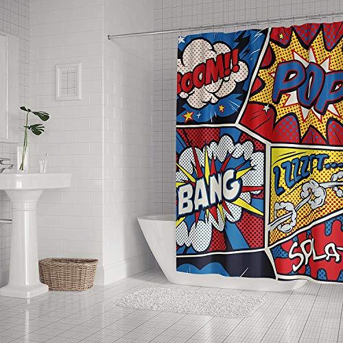 Bernice Winifred Comic-Duschvorhang im Retro-Stil, bunt, mit Badezimmervorhang, wasserdicht, aus Polyester, schimmelresistent, mit -90 x 180 cm