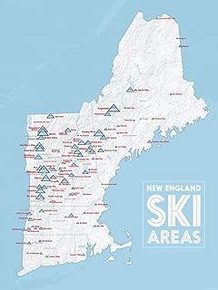 New England Ski Resorts Map 18x24 Poster (White & Light Blue)