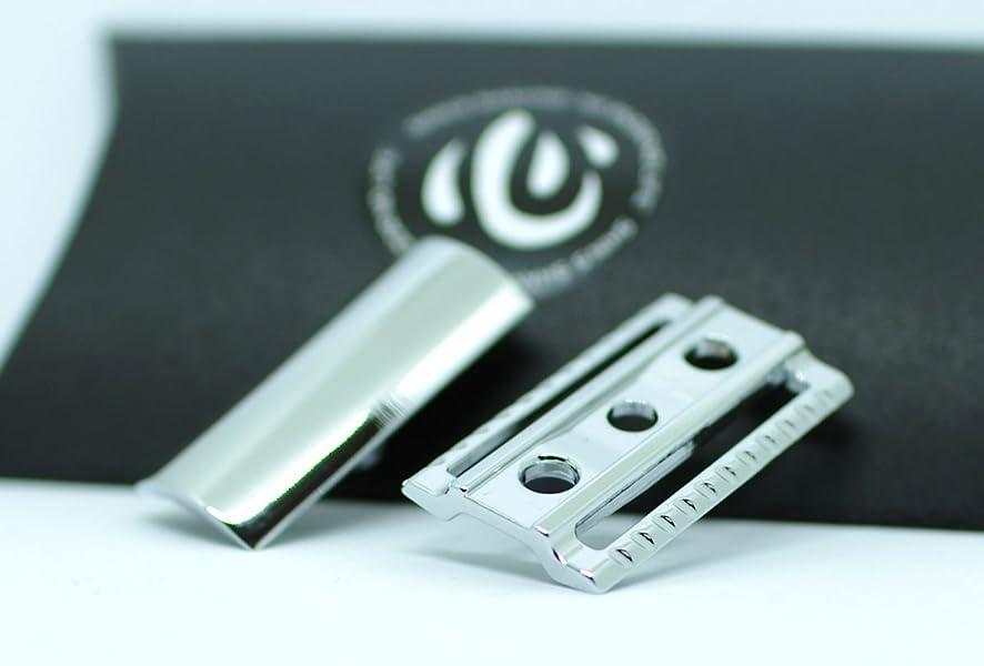 インスタントパプアニューギニアさらに【shin's shaving】 クロームメッキ仕上げ 高級両刃カミソリホルダー(加工精度アップ) ヘッドのみ 【スリムタイプ】 [並行輸入品]