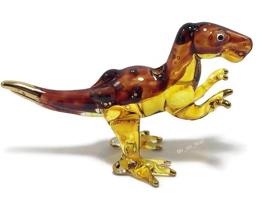 Tiny Crystal T-REX Dinosaur Hand Blown Clear Glass Art Dino Figurine Animals Glass Blown 129