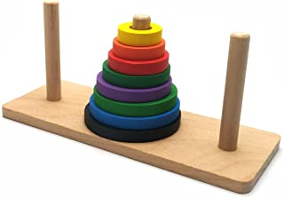 Puzzle Toy, Brain Traing Tower of Hanoi Wooden Logic Brain Teaser Puzzle 8 Rings
