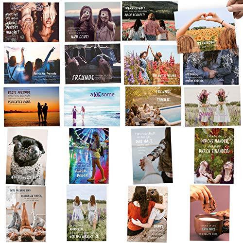 20er Postkarten Set FREUNDSCHAFT: Sprüche & Zitate für Freunde – Jede Postkarte ein Unikat für die beste Freundinnen
