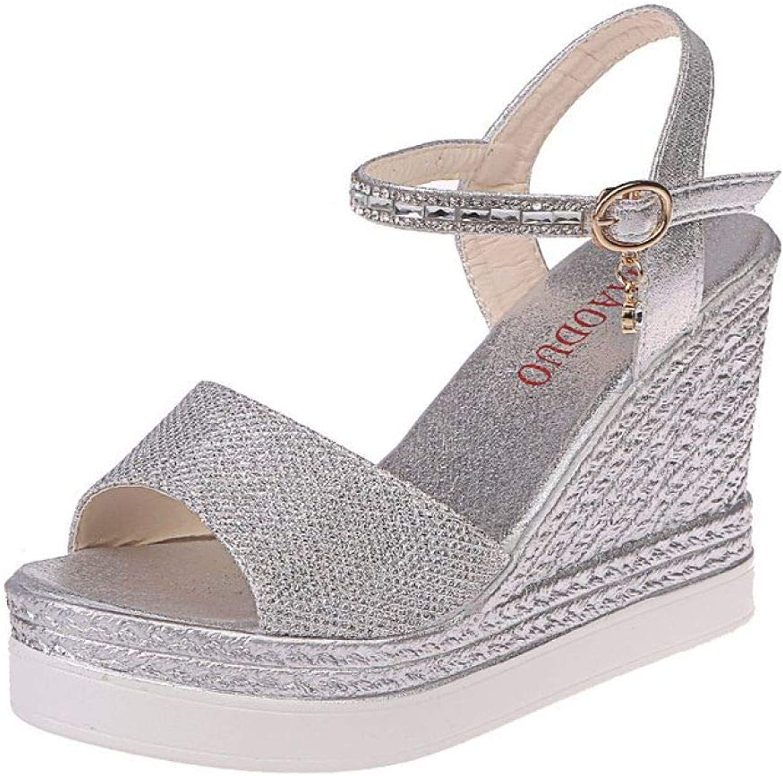 LVYING Female Casual Wedge Dress Sandals Summer Women Comfortable Platform Sandal Sequin Thick Platform shoes