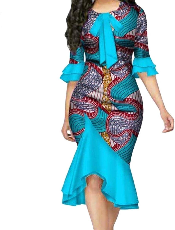 Againg Women Plus Size African Floral Party Vintage Vogue Midi Dress