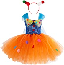 MYRISAM Girls Circus Clown Costume Handmade Christmas Tutu Dress w/Hair Hoop Holiday Party Birthday Fancy Dress Up Outfits