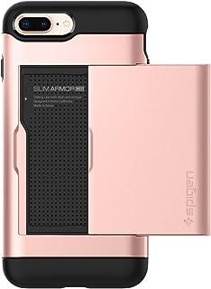 SPIGEN Slim Armor CS Fit dwuwarstwowy ochronny portfel etui z przegródką na karty do Apple iPhone 7 Plus - różowe złoto