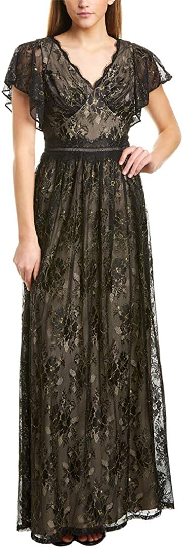 1900 -1910s Edwardian Fashion, Clothing & Costumes Adrianna Papell Womens Metallic Lace Long Dress  AT vintagedancer.com