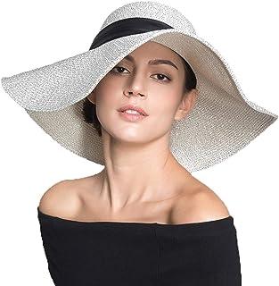 LKLXZD Sun hat Hat Floppy Foldable Wide Brim Gardening Hiking Hat Floppy Beach Hat for Women Large Brim Straw Sun Hats Roll up Packable UPF 50+ Summer hat,Visor (Color : Silver)