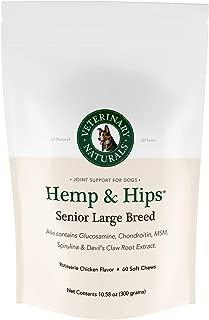 Veterinary Naturals Hemp & Hips Dog Joint Supplement - Glucosamine and Hemp Oil for Dogs - 'Senior Large Breed' Dog Arthritis Supplement - Soft Chew Senior Dog Vitamins