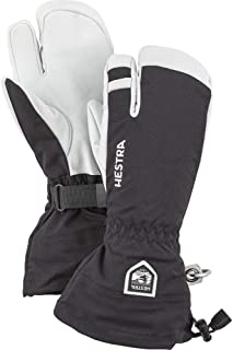 Hestra Mens and Womes Ski Gloves: Army Leather 3-Finger Winter Mitten