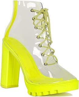 Women Transparent PVC Lace Up Chunky Platform Ankle Boot