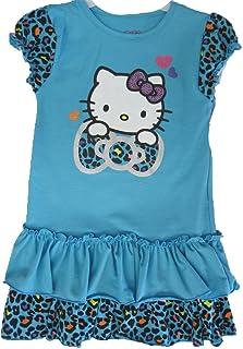 4f868bd4c Hello Kitty Little Girls Turquoise Leopard Spotted Glittery Ruffled Dress 5
