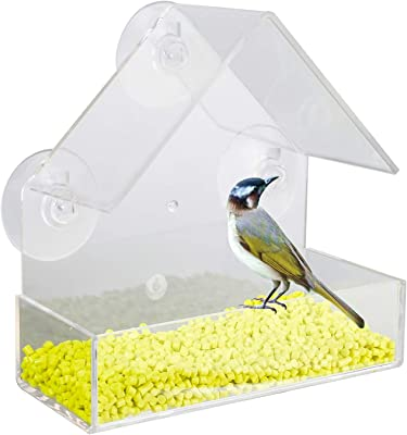 BicycleStore Window Bird Feeder with Three Suction Cups Acrylic Hanging Wild Bird Feeders for Outside Outdoor Transparent Bird House for Finch, Cardinal, Bluebird Bird Watching