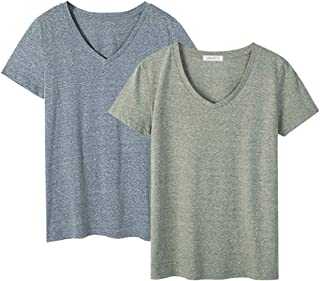 Dolcevida Women's 2 Pack Cotton T Shirts Short Sleeve V-Neck Tees Stretch Blouse Tops