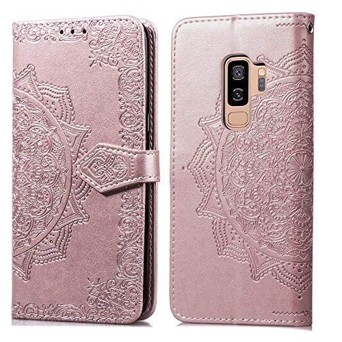 FNBK Compatible con La Funda de Cuero para Samsung Galaxy S9 Plus Carcasas Flores de Datura Libro Tapa y Cartera Cover Protectora Ranura para Tarjetas y Billetera Cierre Función de Soporte,Oro Rosa