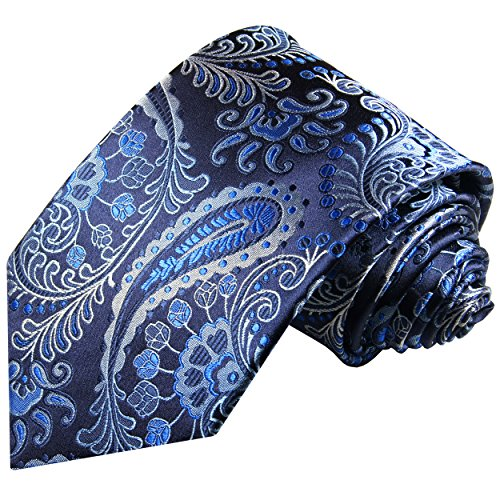 Cravate homme noir bleu paisley 100% soie
