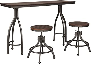 Signature Design By Ashley - Odium Rectangular Dining Room Counter Table Set- Set of 3 - Casual Style - Brown