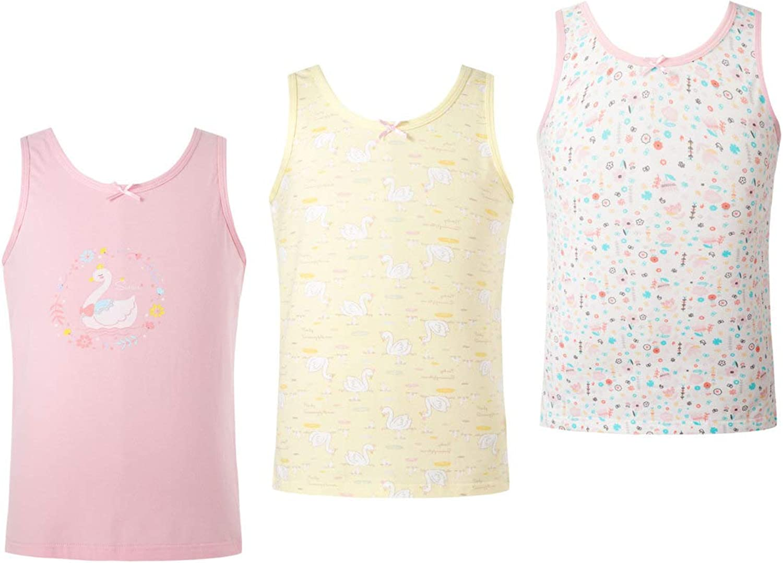 FEESHOW Kids Girls 3Pcs Cotton Sleeveless Tank Top Cartoon Printed Tunic UnderShirts Sleepwear Casual Summer Clothes