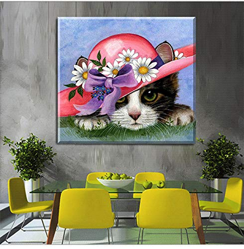 TFjXB DIY 5D Diamond Painting Kits Full Drill, Rhinestone Crystal Embroidery Pictures Cross Stitch for Home Wall Decoration,Animal cat Decorative Painting