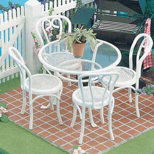Dollhouse Miniature 5-Pc. Patio Table & Chairs Set
