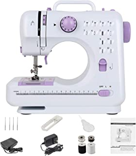 Portable 12 Stitch Sewing Machine with 2 Speed Double Thread LED Light Foot Pedal and 2 Power Supply Design, Multifunction...