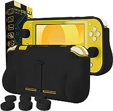 Orzly Funda para la Nintendo Switch Lite – Comfort Grip Case, Carcasa Protectora con puños de Mano Rellenos Integrados para la Parte Posterior de la Consola Switch Lite, con Soporte Plegable - Negro