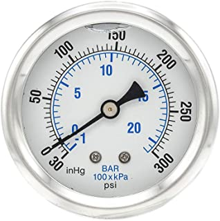 Sponsored Ad - PIC Gauge PRO-202L-254CH Glycerin Filled Industrial Center Back Mount Pressure Gauge with Stainless Steel C...