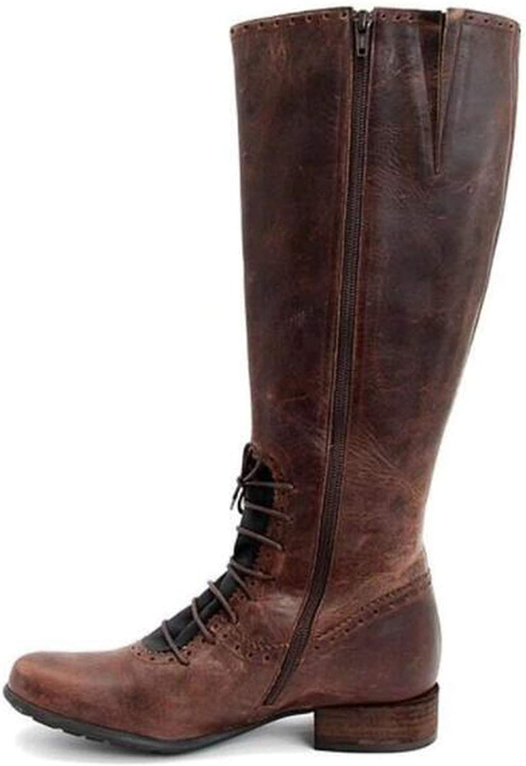Together to create a miracle Women Knee high Boot Chaussure Chunky Low Heels Gladiator shoes Vintage PU Leather Girls