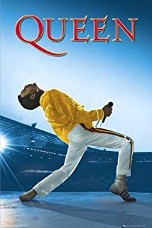 Queen - Music Poster (Freddie Mercury - Live at Wembley 1986) (Size: 24 inches x 36 inches)
