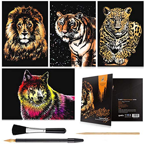 Rainbow Scratch Art Painting Paper (A4) for Kids & Adults, Night View Scratchboard, Art & Craft, Engraving Art Set: 4 Sheets Scratch Cards & Drawing Pen, Clean Brush (Lion/Tiger/Leopard/Wolf)